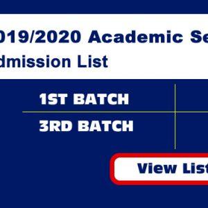 2019/2020 Academic Session (Admission List)