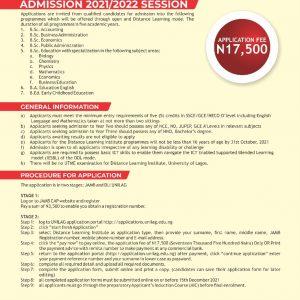 ADMISSION 2021 / 2022 SESSION