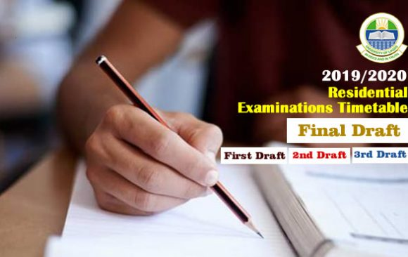 2019/2020 Examinations Timetable (1st, 2nd, 3rd & FINAL Draft)